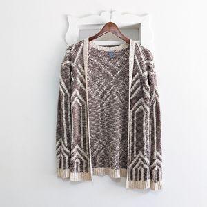 Charlotte Russe Geometric Knit Cardigan Sweate